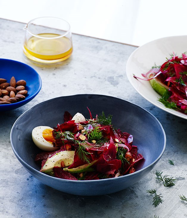 Beetroot and egg salad with avocado and smoked almonds