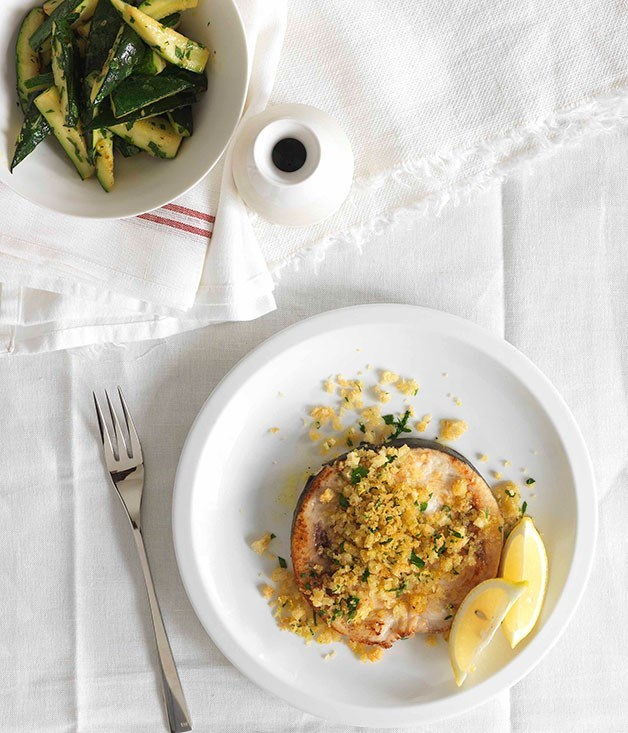 **Swordfish with Breadcrumbs, Zucchini and Mint**
