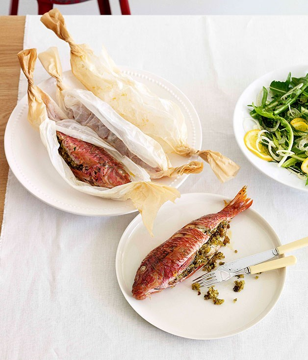 **Stuffed Red Mullet in Baking Paper**