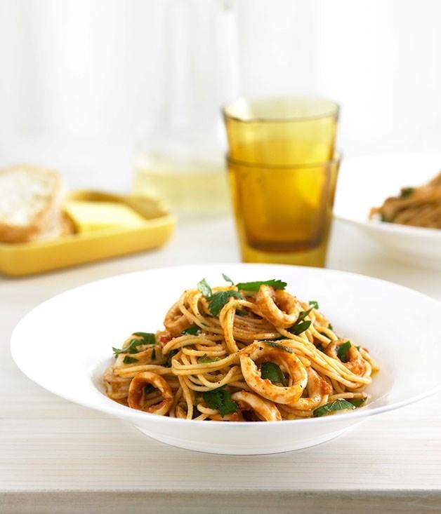 **Calamari, Chilli and Garlic Spaghettini**