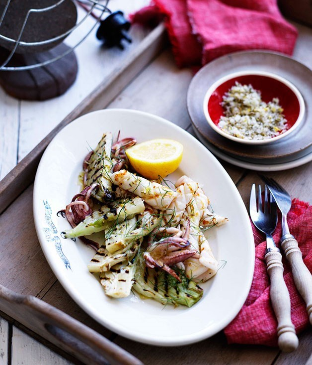 **Grilled Calamari with Fennel and Lemon Salt**