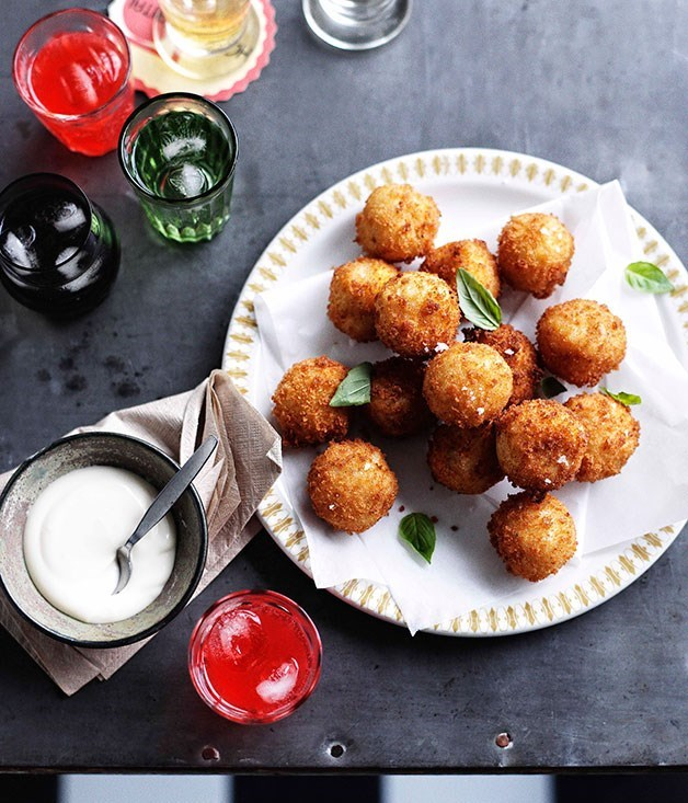 **Provolone Piccante Arancini with Thyme and Garlic Aioli**