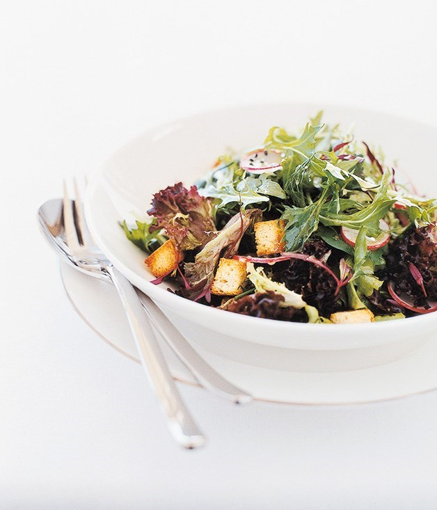 **Salad Farm Lettuces with Radishes, Baby Croutons and Citrus Vinaigrette**