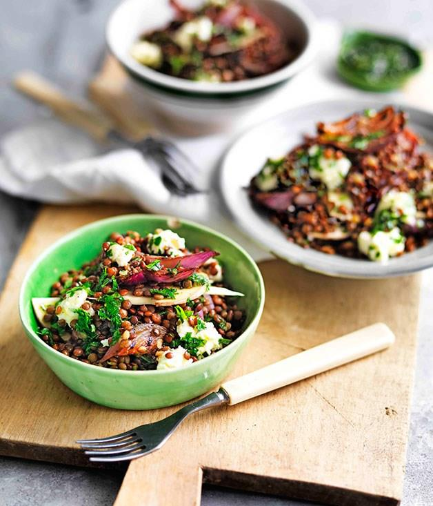 "[**Mushroom, Lentil and Pickled Onion Salad**](https://www.gourmettraveller.com.au/recipes/browse-all/mushroom-lentil-and-pickled-onion-salad-11603|target=""_blank"")"