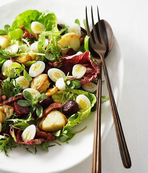 "[**Quail Egg, Beetroot and Bacon Salad**](https://www.gourmettraveller.com.au/recipes/browse-all/quail-egg-beetroot-and-bacon-salad-9600|target=""_blank"")"