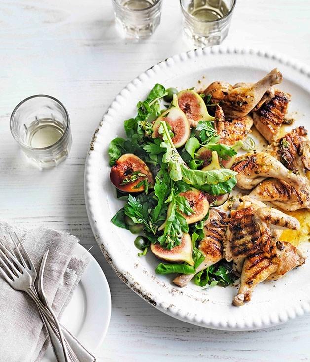 **Grilled Spatchcock with Lardo, Fig and Sicilian Olive Salad**