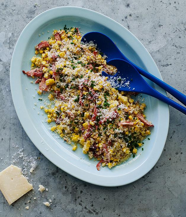 "**[Quinoa-corn salad with bacon and hazelnuts](https://www.gourmettraveller.com.au/recipes/browse-all/quinoa-corn-salad-with-bacon-and-hazelnuts-12182|target=""_blank"")**"