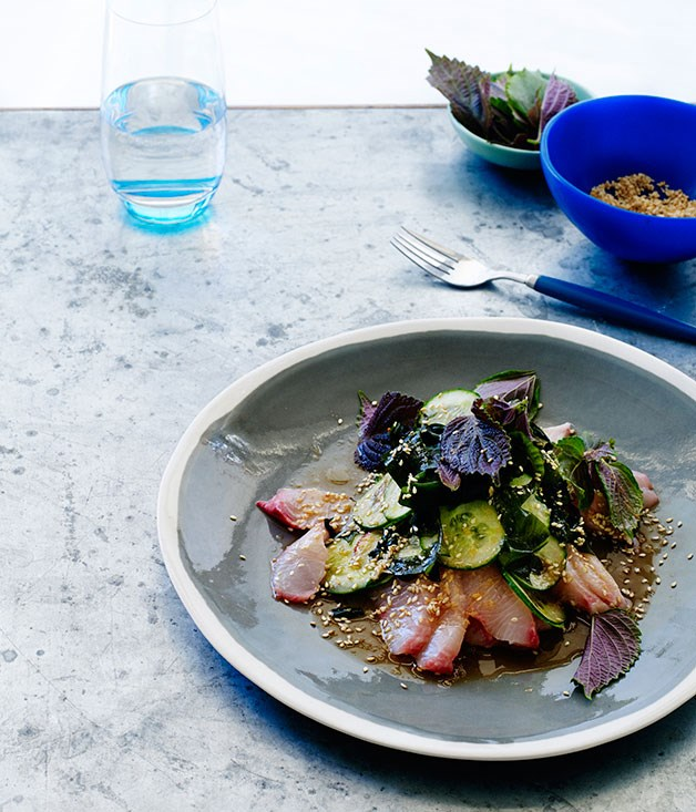 Kingfish and cucumber with soy-ginger dressing