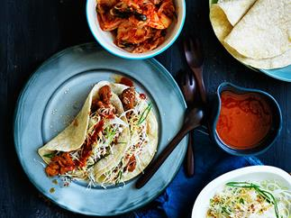 Bulgogi pork tacos with nashi slaw