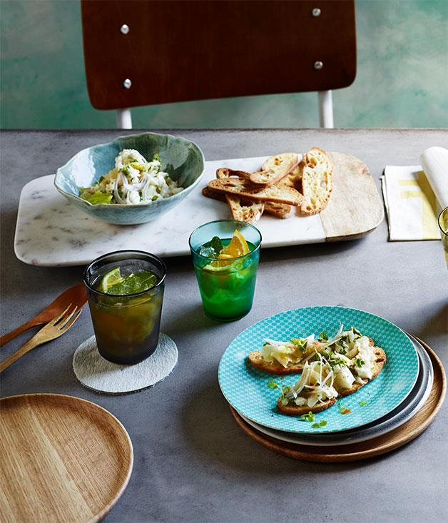 "[Crab and celery mayonnaise on crostini](http://www.gourmettraveller.com.au/recipes/browse-all/crab-and-celery-mayonnaise-on-crostini-12198|target=""_blank"")"
