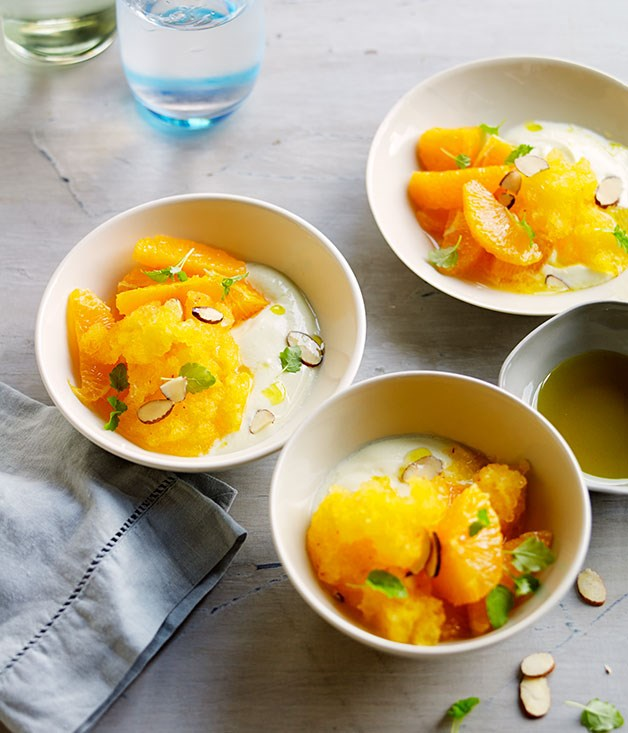 Soured milk with lemon oil and saffron-orange shaved ice