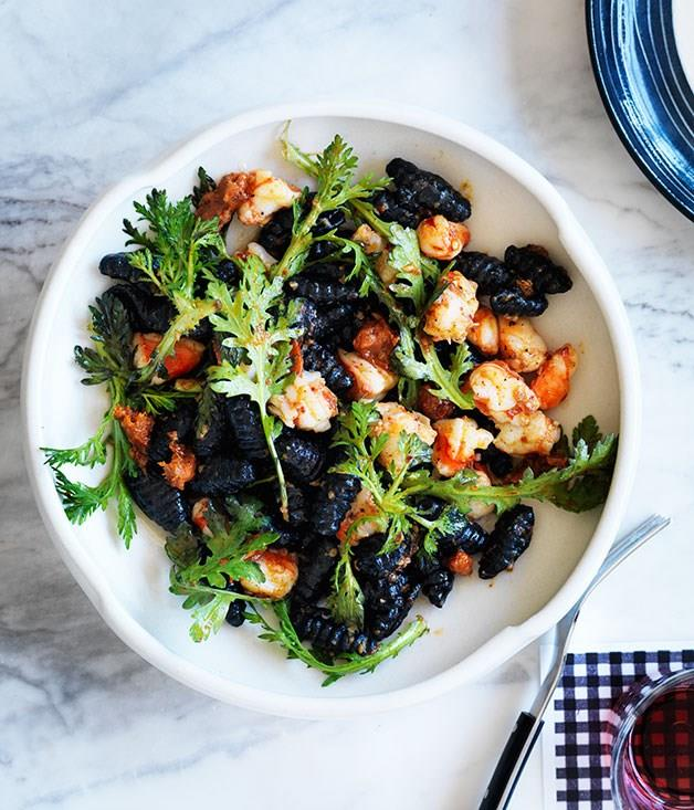 "[Mitch Orr's (ACME) squid-ink gnochetti sardi with prawns and 'njuda**](https://www.gourmettraveller.com.au/recipes/chefs-recipes/squid-ink-gnochetti-sardi-with-prawns-and-nduja-8027|target=""_blank"")"