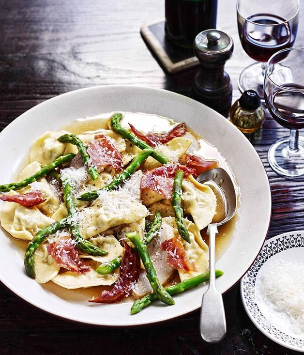 "[Nino Zoccali's (Pendolino) mezzaline di maiale con guanciale brasato e asparagi (mezzalune ravioli with braised pork cheek and asparagus)](https://www.gourmettraveller.com.au/recipes/chefs-recipes/mezzalune-di-maiale-con-guanciale-brasato-e-asparagi-mezzalune-ravioli-with-braised-pork-cheek-and-asparagus-7718|target=""_blank"")"
