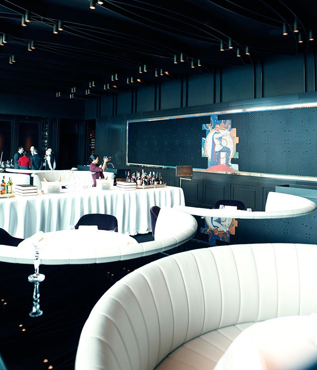 **** A close-up view of the banquette seating.