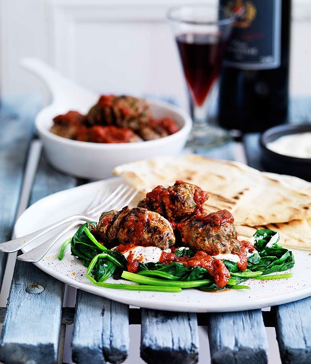 **Grilled Kofte with Flatbread, Spinach, Yoghurt and Spicy Tomato Sauce**