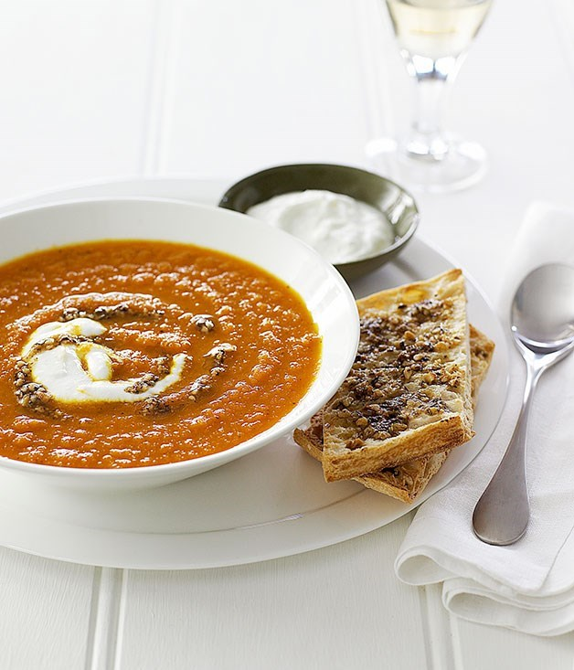 **Carrot Soup with Hazelnut Dukkah**