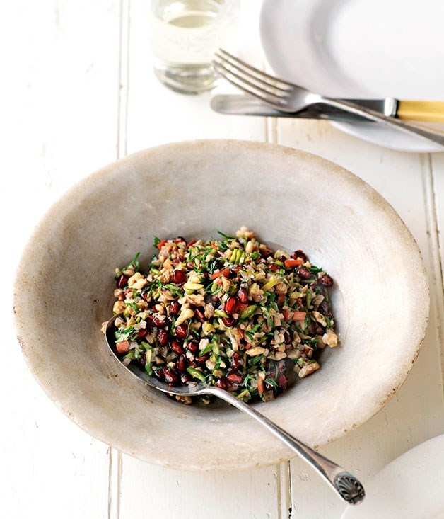 **Grilled Olive, Walnut and Pomegranate Salad**