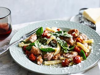 Strozzapreti with pork and wine sausage, tomato and chilli