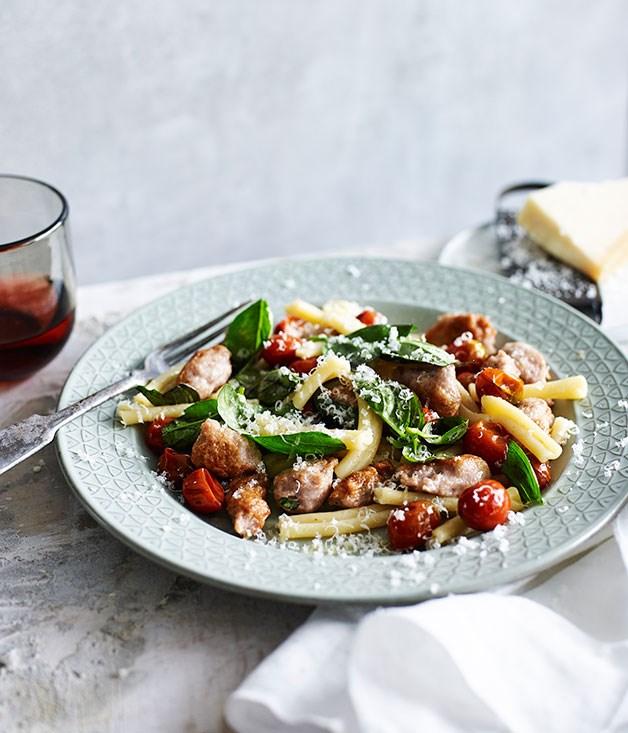 "[**Strozzapreti with pork and wine sausage, tomato and chilli**](https://www.gourmettraveller.com.au/recipes/fast-recipes/strozzapreti-with-pork-and-wine-sausage-tomato-and-chilli-13561 target=""_blank"")"