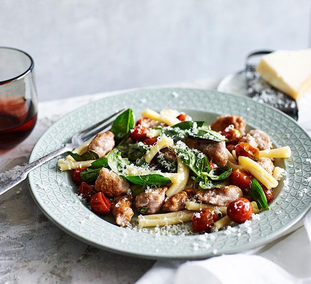 Strozzapreti with pork and wine sausage, tomato and chilli