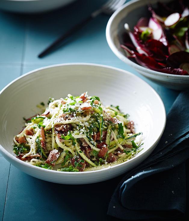 "**[Zucchini ""carbonara""](http://www.gourmettraveller.com.au/recipes/chefs-recipes/zucchini-carbonara-8209|target=""_blank"")**"