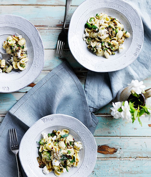 **Orecchiette with broccoli, anchovies and homemade ricotta**