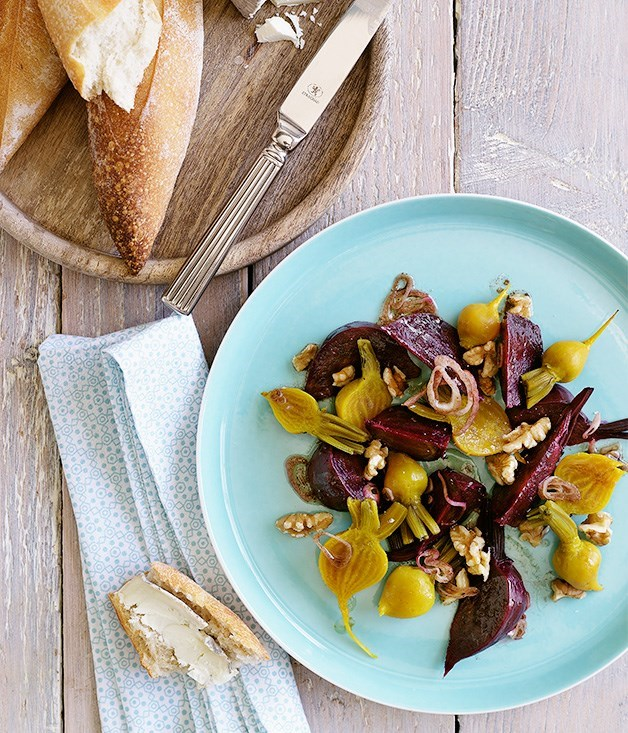 "[**Beetroot and walnut salad**](https://www.gourmettraveller.com.au/recipes/fast-recipes/beetroot-and-walnut-salad-9493|target=""_blank"")"