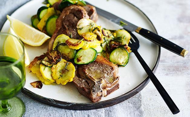 Lamb chops with squash trifolati