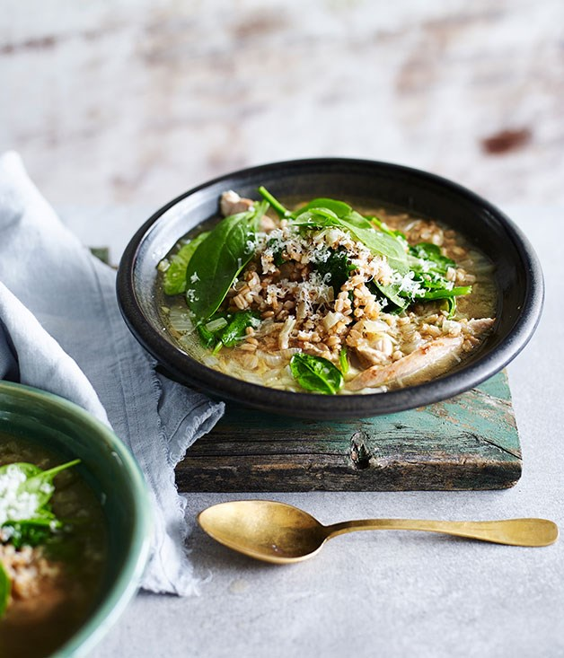 """**[Chicken with spelt and spinach](http://www.gourmettraveller.com.au/recipes/fast-recipes/chicken-with-spelt-and-spinach-13574