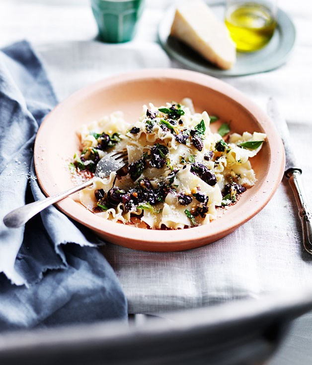 Tacconi with Ligurian olives, pine nuts and oregano
