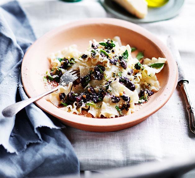 Tacconi with Ligurian olives, pine nuts and oregano