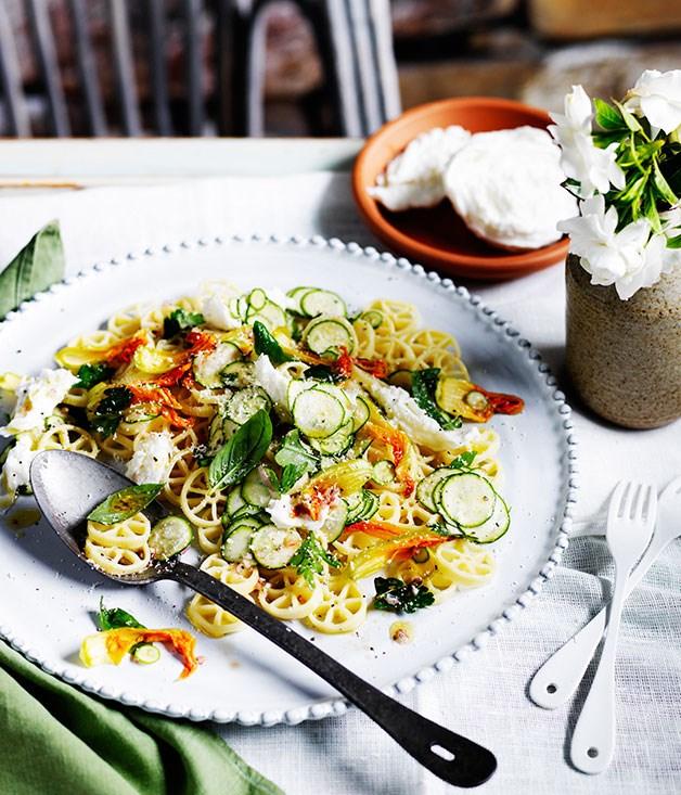 Zucchini-flower pasta freddo with buffalo mozzarella