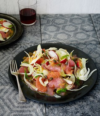 Tuna crudo with ruby grapefruit and fennel