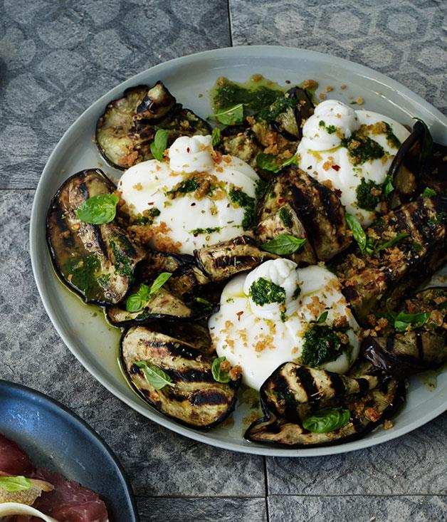 "[Glenn Choy's (Sagra) burrata with char-grilled eggplant](http://www.gourmettraveller.com.au/recipes/chefs-recipes/burrata-with-char-grilled-eggplant-8229|target=""_blank"")"