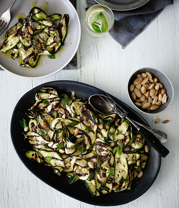 Char-grilled zucchini with mint and almonds