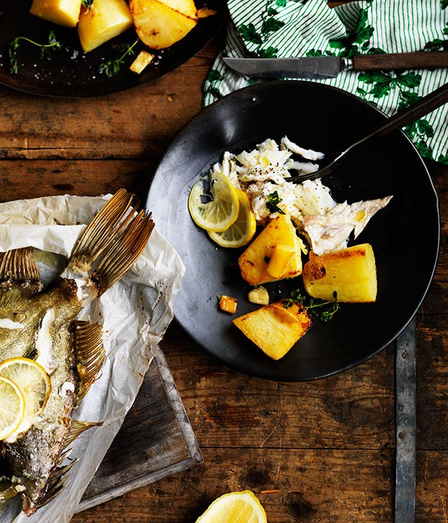 """**[Whole roasted fish with potatoes](https://www.gourmettraveller.com.au/recipes/chefs-recipes/whole-roasted-fish-with-potatoes-8234 target=""""_blank"""")**"""