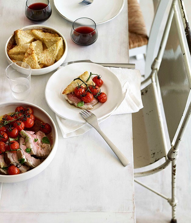 **Slow-Cooked Lamb in Soave with Roast Cherry Tomatoes and Semolina Gnocchi**