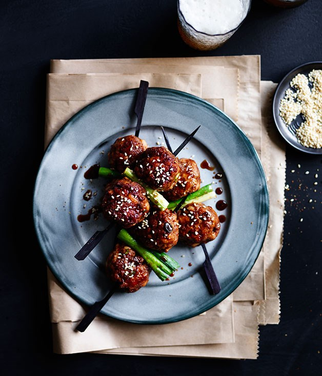 Sticky soy-glazed meatball skewers