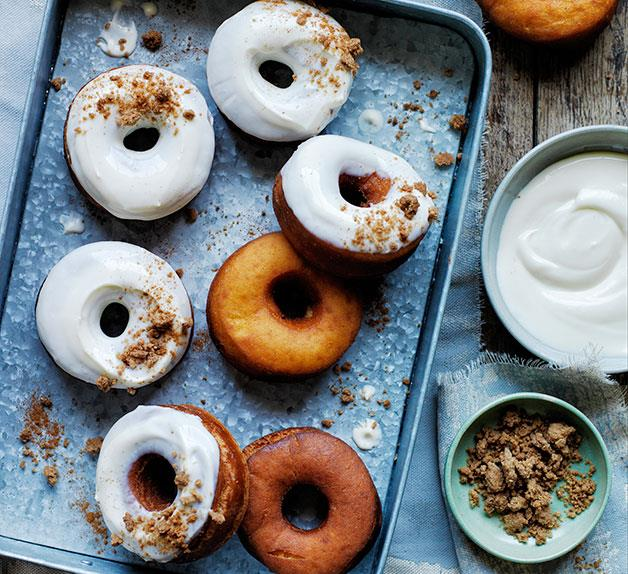 Carrot doughnuts with cream cheese glaze and brown sugar crumb