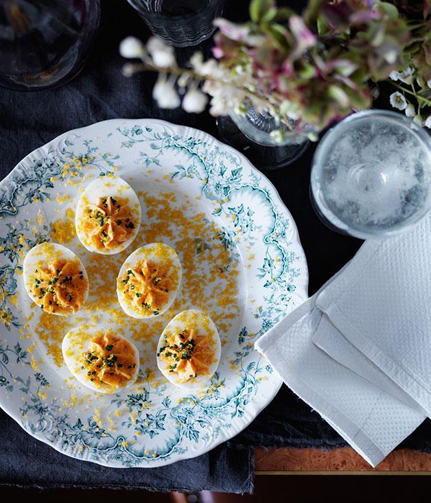 "**[Dan Pepperell's devilled Easter eggs](https://www.gourmettraveller.com.au/recipes/chefs-recipes/devilled-easter-eggs-8218 target=""_blank"")**"