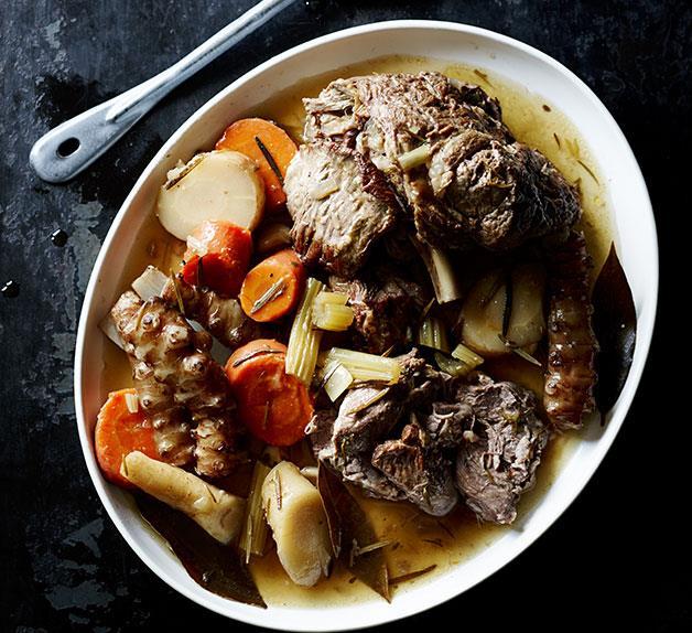 Braised lamb with Jerusalem artichokes, carrots and cumin
