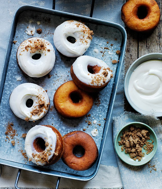 **Carrot doughnuts with cream cheese glaze and brown sugar crumb**