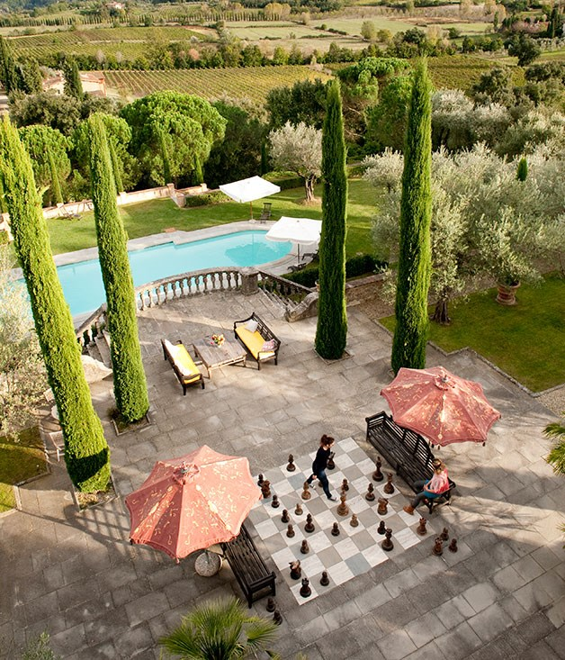 The chess board at Sting and Trudie Styler's Tuscan estate.