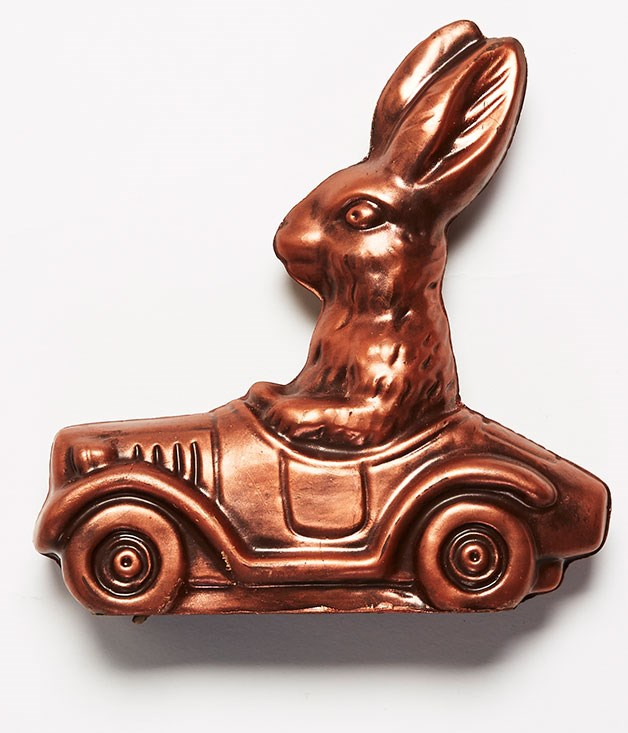 "**Chocolate Bunny in Convertible** Got your golden ticket? This Easter, take a ride of pure imagination with [Monsieur Truffe](http://www.monsieurtruffechocolate.com ""Monsieur Truffe"")'s metallic chocolate bunny. _Chocolate bunny available in 38% milk or 70% dark, $16_"