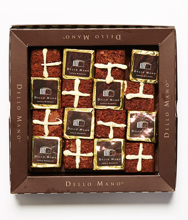 "**Hot Crossed Brownies** [Dello Mano](http://www.dellomano.com.au ""Dello Mano"") has reimagined the Easter classic as a fudgy brownie, made using Belgian couverture dark and white chocolate. They're best enjoyed warm with a hot pot of tea. Good luck stopping at one. _Gift box of 16 brownies, $59.40_"
