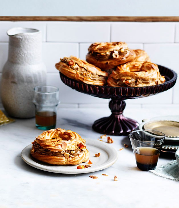"""[**Paris Brest**](http://www.gourmettraveller.com.au/recipes/chefs-recipes/paris-brest-8223 target=""""_blank"""")   """"I think Paris Brest is just about the most impressive dessert you can make with choux pastry,"""" says Ingram. """"I've made these small, but you can pipe a large round to make a centrepiece Paris Brest. Like many French pastries, Paris Brest is steeped in history, having been created in 1910 to honour the famous bicycle race. Its circular shape represents a wheel and was first eaten by riders from the race before becoming popular all over France."""""""