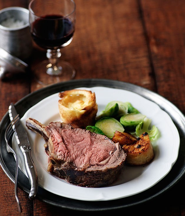 **Prime rib of beef with Yorkshire puddings, roast potatoes and Brussels sprouts**