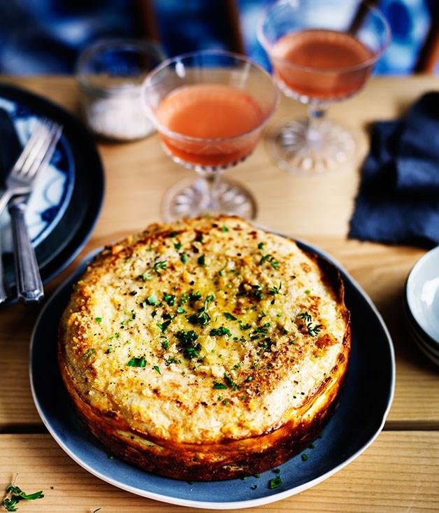 "[**Leek and thyme crêpe soufflé**](https://www.gourmettraveller.com.au/recipes/browse-all/leek-and-thyme-crepe-souffle-11958|target=""_blank"")"
