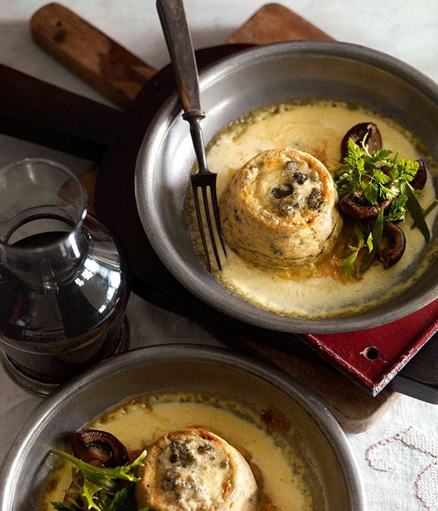**Twice-baked Roquefort and mushroom soufflé**