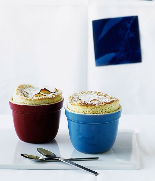 **Caramelised apple and Calvados soufflés**